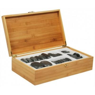 Набор массажных камней из базальта в коробке из бамбука (36 шт.) НК-1Б