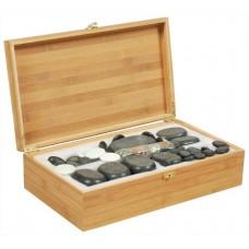 Набор массажных камней из базальта в коробке из бамбука (60 шт.) НК-3Б